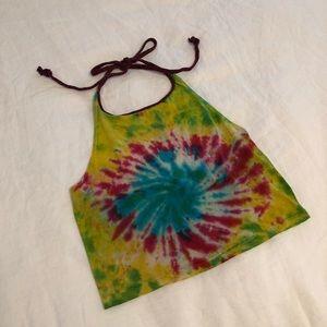UO Tie-Dye Halter Crop Top